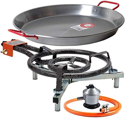 Paellero 40cm a Gas Garcima + Kit paellero Bricolemar (Soporte Universal sobremesa + Paellera 42cm + Regulador de Butano y Manguera Homologada)