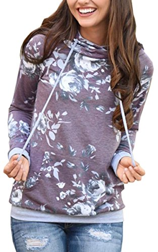 Angashion Women Hoodies-Tops- Floral Printed Long Sleeve Pocket Drawstring Sweatshirt With Pocket, Purple, US 6/Tag M ()