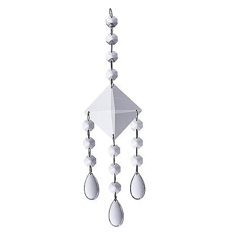 LS2 Colgante de Ventana de Cristal para lámpara de Sol Octogonal, Cadena de Cuentas con