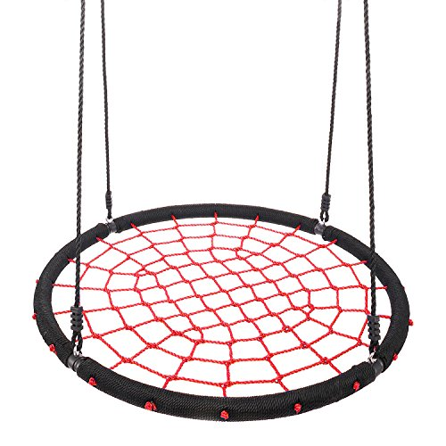 Hot ANCHEER Giant Round Web Net Tree Swing 600LB, 40 Inch Diameter Adjustable hanging Rope Swing Set for Playground Sets