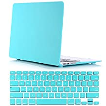 "Case for Mac Air 13"" - Soft-Touch Plastic Hard Case Cover + Pure Turquoise Jelly Keyboard Cover for Macbook Air 13 Inch (Model: A1369 and A1466) - Turquoise"