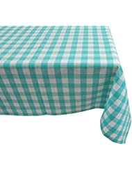 Yourtablecloth 100% Cotton Checkered Buffalo Plaid Tablecloth –for Home, Restaurants, Cafés – Be it for Everyday Dinner Picnic or Occasions Like Thanksgiving, 52x52 Square Aqua and White
