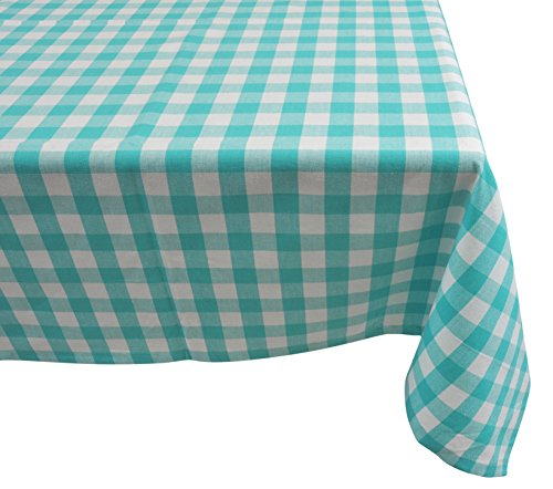 - Yourtablecloth 100% Cotton Checkered Buffalo Plaid Tablecloth –for Home, Restaurants, Cafés – Be it for Everyday Dinner Picnic or Occasions Like Thanksgiving, 52x52 Square Aqua and White