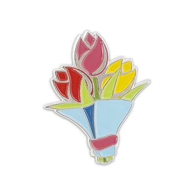 f69cf24527d Amazon.com: Bouquet of Colorful Flowers Emoji Easter Tulips Enamel Lapel Pin-  1 Pin: Jewelry