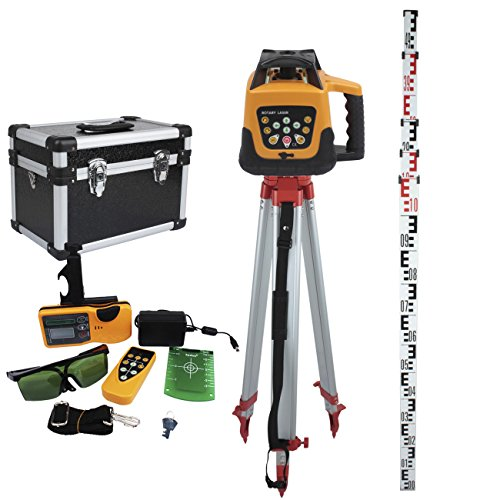 Rotary Level Control (Ridgeyard Automatic Green Beam Rotary Rotating Laser Remote Control 500m Range Self-leveling Rotary Laser Level with Case + Portable 1.63M Aluminum Tripod + 5M Staff Level Rod)