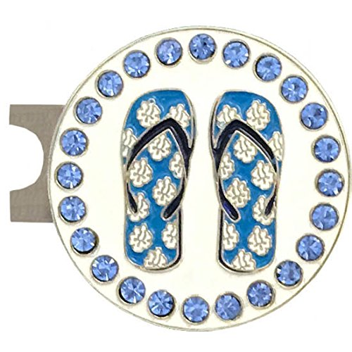 Giggle Golf Bling Blue Round Flip Flops Golf Ball Marker With A Standard Hat Clip (Round Golf Hat)