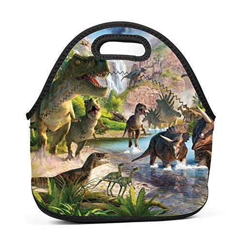(Dinosaurs World Insulated Neoprene Lunch Bag for Men Women and Kids - Reusable Soft Lunch Box for Work and School Water-Resistant 3D Printed)