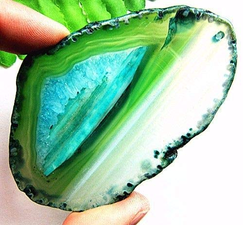 (FidgetKute 83x55x6mm Green Blue druzy geode Agate Freeform Pendant Bead)