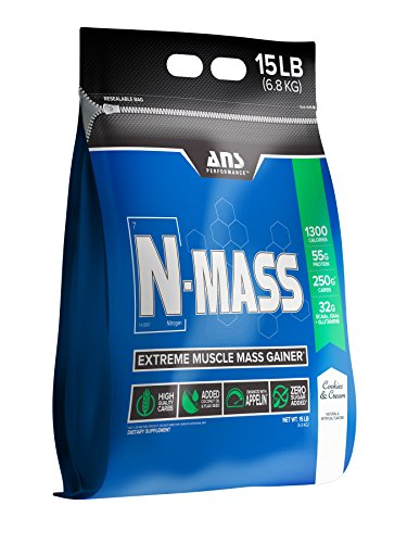 ANS Performance N-Mass Muscle Mass Gainer, Premium Mass Builder For CLEAN (quality) Gains, Cookies & Cream,  15 Pounds by ANS Performance