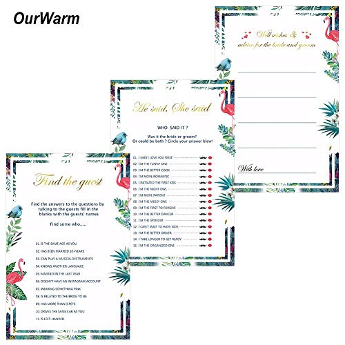 Convites Ideas Wedding 150Pcs Wedding Wishes Cards Bridal Shower Ideas Funny He Said She Said Games Flamingo Invitations Event Party Supplies