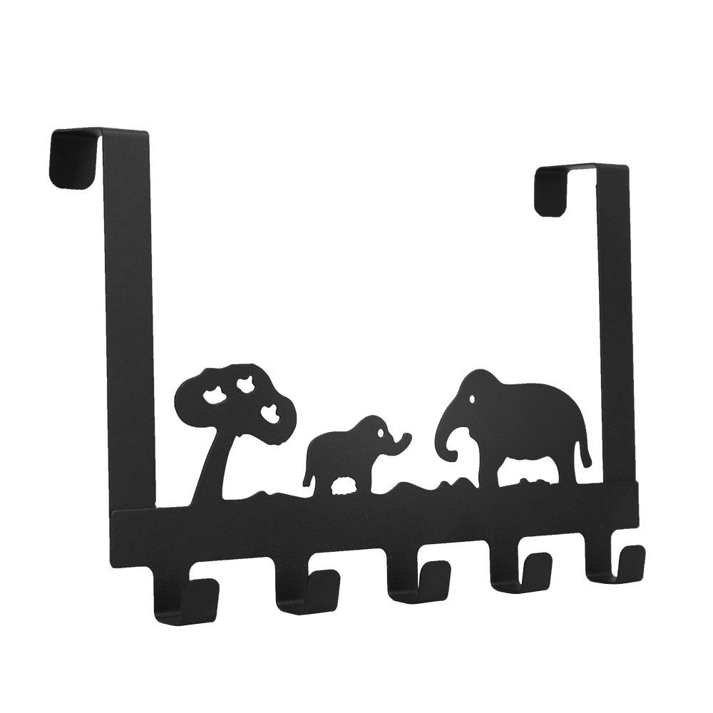 Baoyouni Over the Door 5 Hook Storage Rack Hanger, Elephant Decorative Heavy-duty Organizer for Coats, Hats, Robes, Towels 11.8'' x 8.07'' x 1.85'' (Black)