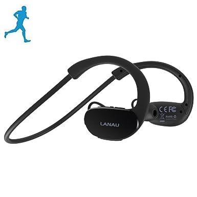 Lanau deportes inalámbrica Bluetooth auriculares auriculares estéreo cancelación de ruido de sonido HD para Apple Iphone