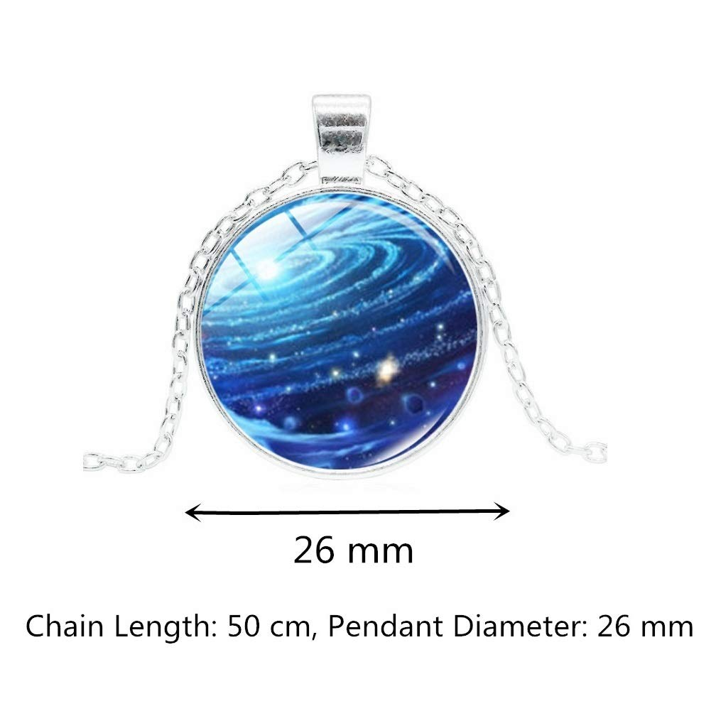 Black Hole Nebula Time Gemstone Handmade Necklace Pendant Fantasy Universe Pendant Costume Packed in Jewelry Box Love Token Gift Necklace for Women