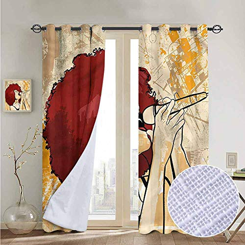 fengruiyanjing Customize Grommet Curtain Decoration for Windows, Afro, Singer Woman Karaoke Style (Set of 2 Panels)