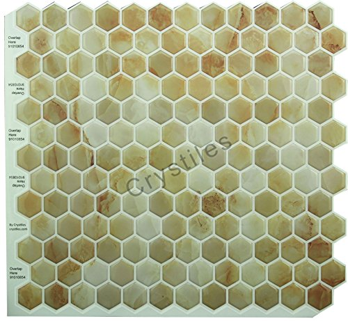 """Crystiles Peel and Stick Self-Adhesive DIY Backsplash Stick-on Vinyl Wall Tiles for Kitchen and Bathroom Décor, Off-White and Brownish Hexagon, Item# 91010854, 10"""" X 10"""" Each, 6 Sheets Pack"""