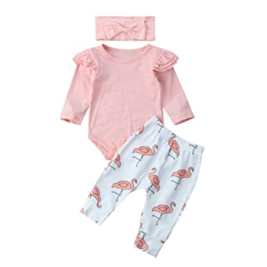37d106e7da269 Infant Baby Girl Long Sleeve Ruffle Romper Pink Flamingo Pants with Headband  Outfit Set (0
