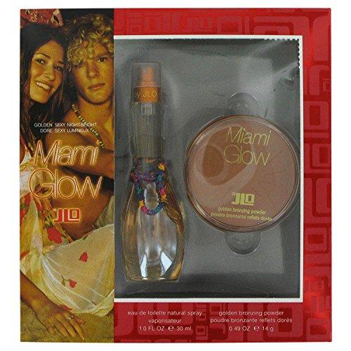 Miami Glow By Jennifer Lopez For Women. Gift Set ( Eau De Toilette Spray 1.0 Oz + Golden Bronzing Powder 0.49 Oz ). (Jennifer Lopez Glow Gift Set)