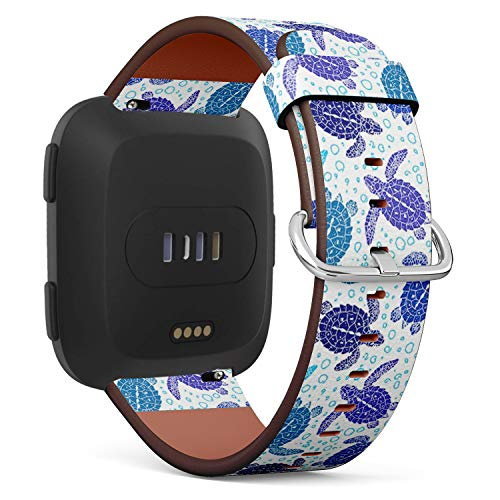 Compatible with Fitbit Versa Leather Watch Wrist Band Strap Bracelet with Quick-Release Pins (Turtles Silhouette)