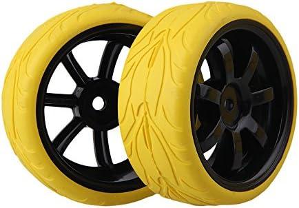 Mxfansブラック7-spokeプラスチックホイールリム+イエロー魚スケールパターンラバータイヤfor RC 1: 10On Road Car Set of 4