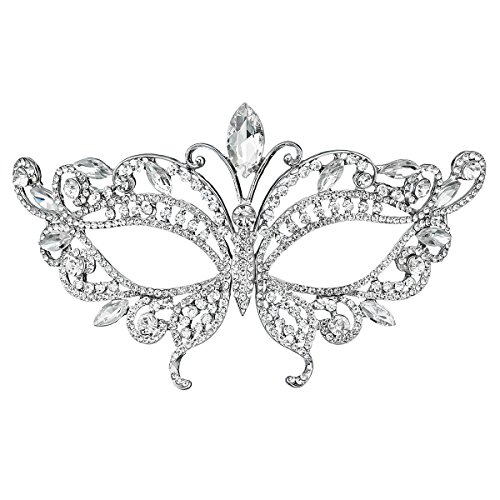 (Miallo Bridal Full Rhinestone Crystal Fancy Masquerade Eye Mask for Halloween)