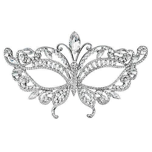 - Miallo Bridal Full Rhinestone Crystal Fancy Masquerade Eye Mask for Halloween (Style5#)