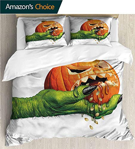 King Duvet Cover Set,Box Stitched,Soft,Breathable,Hypoallergenic,Fade Resistant Bedding Set Cover with 2 Pillow Shams Decorative Quilt Cover Set -Pumpkin Scary Halloween Monster (87