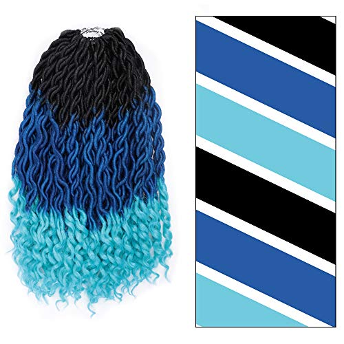 GX Beauty Faux Locs Crochet Hair 20Inch Goddess Locs Crochet Hair with Curly Ends Ombre Blue Wavy Faux Locs Braids Hair ()