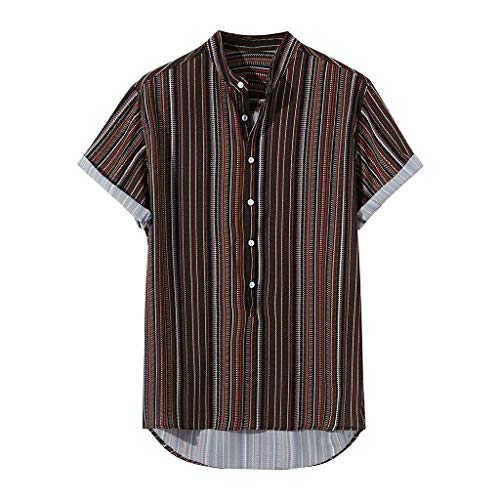 GDJGTA Mens Summer Striped Buttons Fly Breathable Short Sleeve Casual Henley Shirts Wine