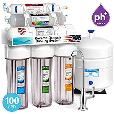 Express Water 10 Stage Home Drinking Water Filtration System Alkaline Mineral PH Reverse Osmosis 100 GPD RO Membrane Clear Housing Deluxe Chrome Faucet Residential Under Sink Purification ROALK10DC