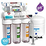 home drinking water filtration Express Water 10 Stage Home Drinking Water Filtration System Alkaline Mineral pH+ Reverse Osmosis 100 GPD RO Membrane Clear Housing Deluxe Chrome Faucet Residential Under Sink Purification ROALK10DC