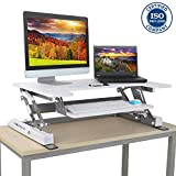Cirocco Sit to Stand Workstation Tabletop Monitor Riser Convertible Desk w/ Retractable Tray White Height Adjustable Sturdy Ergonomic for Dual Computer Notebook Laptop Home Office Game Help Back Pain