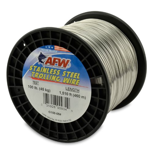 American Fishing Wire Stainless Steel Trolling Wire, 100-Pound Test/0.89mm Dia/460m