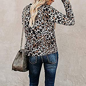 Rikay Womens Long Sleeve Tshirts Ladies Jumpers Leopard Camo Print Tops Round Neck Pullover