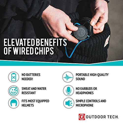 c78b822b7c3 chic Helmet Speakers - Outdoor Tech Wired Chips - Black - Sweat and Water  Resistant Sound