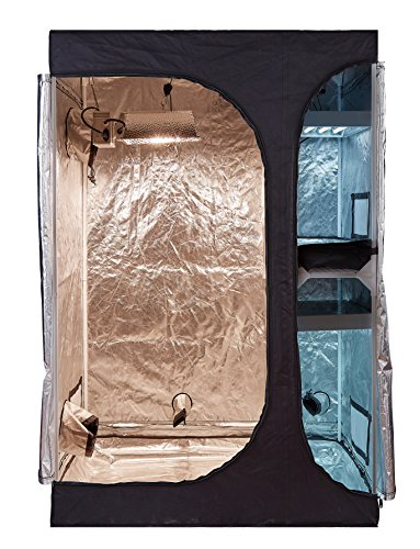 """BloomGrow 2-1 600D High Reflective Mylar Hydroponic Water-Resistant Grow Tent with Plastic Corner Removable Floor Tray for Indoor Plant Growing (48""""x36""""x72"""")"""