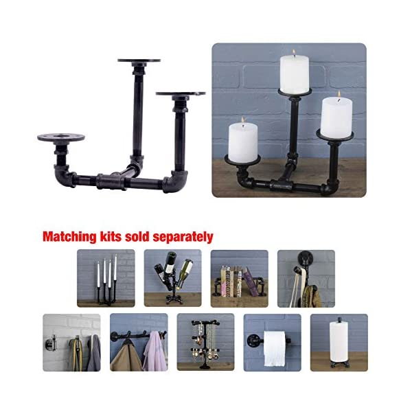 Pipe Décor Industrial 3 Branch Pillar Candle Holder Complete Set Electroplated Black Finish - 38CNPL4-BK- Rustic and… 5