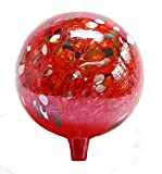 Glass Gazing Ball Circus Red Iridized 12 Inch by Iron Art Glass Designs