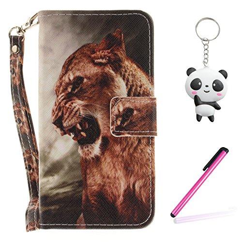 Coque iPhone X lion à pleines dents Portefeuille Fermoir Magnétique Supporter Flip Téléphone Protection Housse Case Étui Pour Apple iPhone X / iPhone 10 (2017) 5.8 Pouce + Deux cadeau