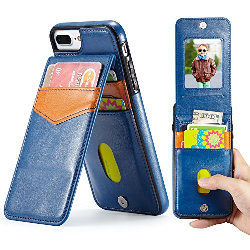 Marval.P Holster Leather Wallet Case, Up Flip Slim Premium Genuine Card Slots Shockproof Folio Defender Shell Magnetic Clasp Kickstand Holder for iPhone 6/6s 7/8 PLus X Cover (iPhone 6/6s PLUS Navy) (Of Glass Out Take Scratches)