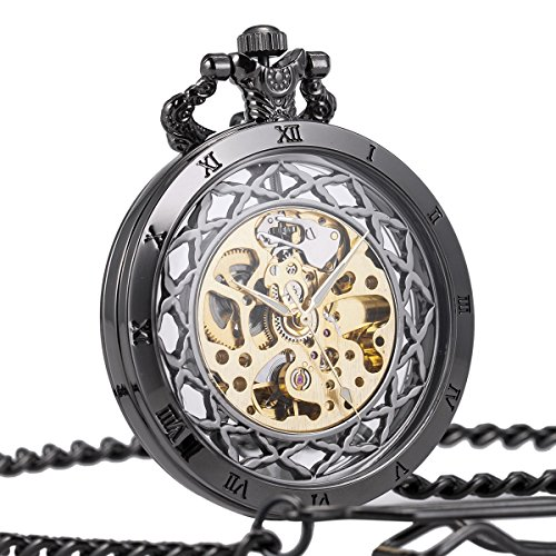 Antique Transparent (Open Face Pocket Watch Mens Automatic Skeleton Mechanical SIBOSUN Antique Black Transparent Chain + Box)