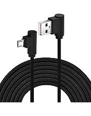 Micro USB naar USB 2.0 kabel 3 meter nylon geweven gevlochten 90 graden haakse USB oplaad- en synchronisatiekabel voor Android-apparaat, mannelijk naar mannelijk(Zwart)