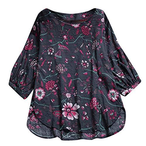 AOJIAN Blouse Women Long Sleeve T Shirt Flower Print Plus Size Tees Tunics Tank Shirts Tops