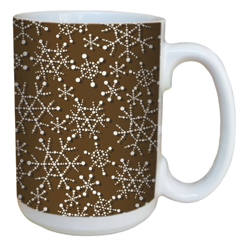 (Tree-Free Greetings 79321 Snowflakes by Debbie Mumm on Brown Ceramic Mug with Full-Sized Handle, 15-Ounce )
