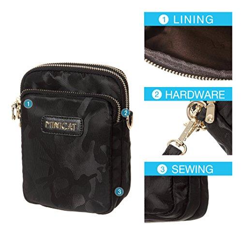 MINICAT Nylon Small Crossbody Bags RFID Blocking Cell Phone Purse For Women (Black-RFID Blocking) by MINICAT (Image #4)
