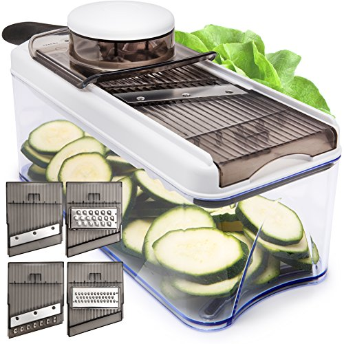 Adjustable Mandoline Slicer - 5 Blades - Vegetable Cutter, Peeler, Slicer, Grater & Julienne Slicer (Black) Mandolin Potato Slicer