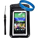 Universal Protective Waterproof Bag / Pouch / Cover / Case for HTC One M8 / M7 / X / Mini / ZTE Nubia / V987 / Z998 with Responsive Screen Protector Windows and Strap Fit up to 5.5 Inch Ios Windows Google Android Smart Phone + SumacLife Wisdom Courage Wri