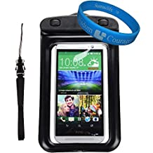 Universal Protective Waterproof Bag / Pouch / Cover / Case for HTC One M9 / M8 / Desire 816 / 820U / Eye / 616 / 610 / 510 with Responsive Screen Protector Windows and Strap Fit up to 5.5 Inch Ios Windows Android Smart Phone + SumacLife Wisdom Courage Wristband (Black)