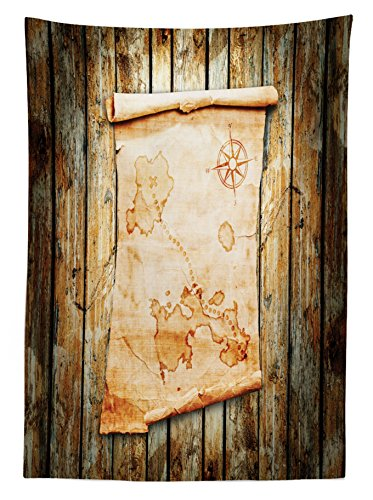 Island Map Tablecloth by Ambesonne, Treasure Map on Rustic Timber X Marks the Spot of Gold Nautical Pirates Concept, Dining Room Kitchen Rectangular Table Cover, 52 W X 70 L Inches, Cream Brown