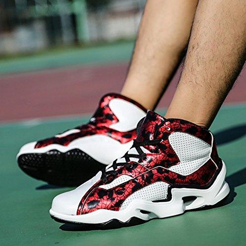 Frühling Herbst Herren Sportschuhe Leichte Laufschuhe Rutschfeste Dämpfung Basketballschuhe Low-Top Sneakers 38-43 Rot
