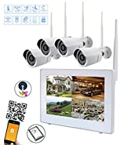 Wireless Security Camera System 720P 9 LCD HD Monitor 4 Channel Capacitive Touch Screen CCTV Kit Built in 1TB Surveillance Hard Drive for Home Outdoor and Indoor Video Monitoring( Probe 4)